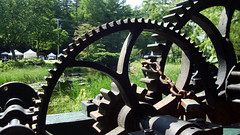 Bridgton Wheel (Jae at Wits End) Tags: park bridge water wheel metal circle stream iron industrial mechanical spoke machine rusty chain round link ironwork curve gears circular