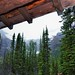 Mountains and Trees Framed by an Overhang (Plain of Six Glacier Tea House)