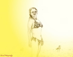 A bright drawing (leslieboren) Tags: sea white abstract bird art beach colors yellow hair artistic wind seagull gull line suit bikini fade bathingsuit selective selectivecolors