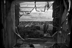 "Broken Window_JWA1237 (jonwaz) Tags: blackandwhite bw white abstract black abandoned blanco broken window monochrome lines skyline nikon europa view y sweden negro staircase tower"" råå ""water jonwaz"