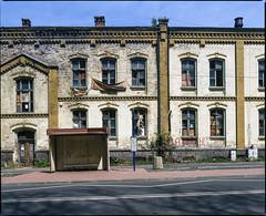 Będzin Grodziec, Poland. (wojszyca) Tags: mamiya rz67 6x7 120 mediumformat 75mm shift kodak ektachrome e100g gossen lunaprosbc epson v800 housing bus stop urban decay city