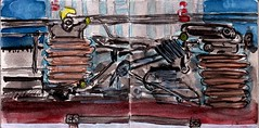 Während die Türen automatisch schlossen blieben die Menschen zurück und dachten über ihr Leben nach (raumoberbayern) Tags: sketchbook skizzenbuch tram munich bus strasenbahn pencil bleistift ballpoint paper papier robbbilder stadt city landschaft landscape spring frühling summer sommer trip germany car münchen home hannover bahnhof denkmal monument station train zug stromabnehmer collector carnetdecroquis