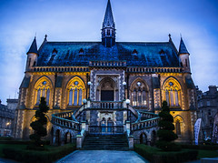 McManus Galleries (daedmike) Tags: scotland dundee macmanusgalleries tayside staircase uplighter twilight sundown gallery museum gothic sunset towers turrets arches topiery