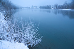 Blue river (natural illusions) Tags: river sava snow winter january nature pentax k200d outdoor slovenia europe lb1415 allrightsreserved blue water misty evening reservoir lake landscape trees stillness cold interesting cool rawtherapee imagemagick wow bluehour zima
