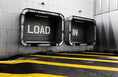 Load In (Mathieu Pierre) Tags: load charger chargement garage porte door architecture building île machines urban ville city rue street art bande ligne jaune yellow nantes france canon eos 7d ef1635mm f28l