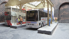 A Busy Durham Arches Bus Station. (ManOfYorkshire) Tags: route500 route45 vanhool alizee daimler fleetline northumbria nationalexpress durham arches busstation bus buses coach diecast 176 scale oogauge ooc efe volvo b10m gmstandard people passengers