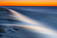 Tidal paint (7ordek) Tags: longexposure light sunset orange seascape lightpainting colour nature beautiful night landscape dawn see nikon marine exposure slow fine vivid wave atmosphere poland baltic shutter nikkor tidal nocturne pl d90
