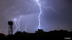 Lightning over London (Glenn Radford GRP) Tags: sky cloud storm london silhouette night clouds dark lights darkness bright flash watertower cell fork angry lightning flashing forks sparks roar spark loud thunder glennradford