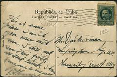 Archiv A925 Poststempel Havanna, 12. Januar 1924 (Hans-Michael Tappen) Tags: 1920s postcard text cuba whiteboard stamp habana havanna marti kuba 1924 postkarte handschrift briefmarke tarjetapostal republicadecuba 1920er archivhansmichaeltappen 1correos