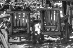 Relax in the Shade (miketodack) Tags: wood summer vacation white black mountains pool relax day shadows chairs tourists shade overlook haveadrink