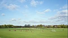 Sunday League, East Marsh (I M Roberts) Tags: sundayleaguesoccer eastmarsh hackneymarsh eastlondon mamiya7 mediumformat