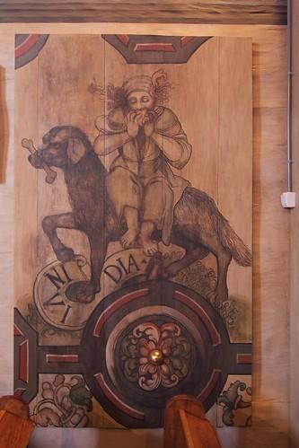 Personifikacja zawiści (INVIDIA) z dekoracji stropu w kościele w Boguszycach