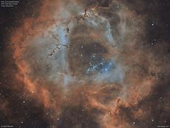 NGC2244_Bi-Colour_2017-1-26 (MarkLB57) Tags: ngc2237 ngc2244 astronomy astrophotography azeq6gt zwoefwelectricfliterwheel zwoasi1600mmcool nebula monoceros bicolour ha oiii meade6000115mmrefractor marklb57 rosettenebula