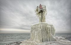 St. Joseph South Pier Beacon (mswan777) Tags: pier beacon signal ice cold winter lake michigan great lakes nature scenic water lighthouse nikon d5100 sigma 1020mm tower sky cloud waves