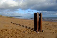 Iron Groyne (ew-photo-gb) Tags: iron groyne dawlish beach devon coast sky clouds sea sand shadow perspective fujifilm x100s evelvia
