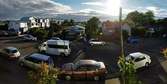 christchurch pano 1 3p (Bilderschreiber) Tags: christchurch street panorama wide angle weitwinkel cars autos gegenlicht backlight new zealand neuseeland sonne sun