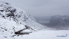 Little Red Car (AnnieMacD) Tags: applecross bealachnaba creagachumhaig hairpinbends mountains scotland sgurrachaorachain snow snowstorm westerross winter oo