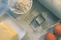 8//52 Diamonds (NikkiNakkiNoo365) Tags: baking flour eggs butter ingredients cookie pastry cutters diamond shape rolling pin 52 weeks 2017 week 8 canon 1100d from above looking down 1855