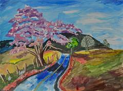 Mom's Road (BKHagar *Kim*) Tags: bkhagar art artwork painting paint acrylic landscape road tree fence moms betty