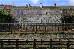 Neka / Flem / Onm (Alex Ellison) Tags: urban graffiti boobs railway graff pbs trackside northlondon neka onme flem onm 1t nekah neks