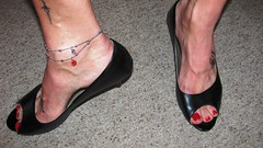 sexy black leather peeptoe pumps, anklet and tattoos (Isabelle.Sandrine1998) Tags: feet tattoo shoes toes pumps legs heels dangling polished anklet peeptoes shoeplay ladyinpeeptoes