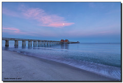 Barely a Ripple (Fraggle Red) Tags: ocean moon gulfofmexico water clouds sunrise dawn pier sand florida naples westcoast hdr naplespier singleexposure 7exp collierco canonef1635mmf28liiusm dphdr forthesky forthewater canoneos5dmarkiii 5d3 5diii adobelightroom5
