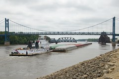"Marquette Transportation Towboat ""City of Cassville"" Clinton Iowa Mississippi River Bridges 7/1/15 (Poker2662) Tags: bridge river mississippi clinton bridges iowa swing transportation marquette towboat 7115 cityofcassville"