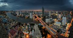 bangkok city view from sathorn tower / ghost tower (bahterazar) Tags: city sunset cloud building photography cityscape bangkok lighttrail sathorn citiscape ghosttower sathornuniquetower