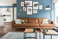 woonkamer: bijzettafels vlojo, bank be pure home rodeo cognac, vintage carpet, desenio wall art posters, kleur op de muur boreal blue (gamma) (MBarendse) Tags: loods5 vtwonen be pure home bepurehome rodeo cognac desenio carpet vintage industrial basiclabel basic label interieur interior lifestyle scandinavic maasland holland nederland