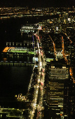 Along The Hudson River (wyojones) Tags: new newyork newyorkcity manhattan lowermanhattan oneworldtradecenter observationdeck top view hudsonriver buildings roads streets lights night piers river water newjersey