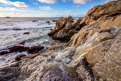 Streams to the Sea (Rod Heywood) Tags: bigsur coast california garrapata garrapatastatepark waterfall rivulet stream winter cliff ontheedge seascape ocean pacific rocky clouds surf waves