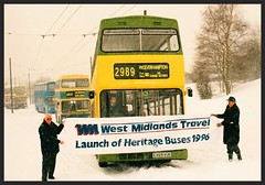 Happy New Year. ((Stop) The Clocks) Tags: e989vuk wmt snow winter theblackcountrymuseum westmidlandstravel mcw mcwmetrobus 2989 2888 3225 people heritagebuses 3033