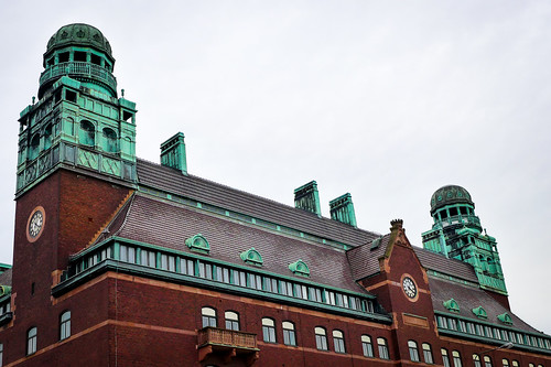 Danske Bank building roof tops with turrets - Malmo