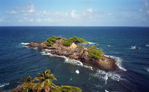 A rock outcroping on the South East coast of Carriacou, taken from the bus