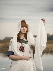 Beauty and cape (kana movana) Tags: portrait woman beautiful fashion style outdoor nature white movanas orange hair redhair red lake people shooting session d800