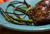 Skirt Steak and Garlic Scapes (dmoranphotog) Tags: food dinner grilled fiestaware odc skirtsteak garlicscapes project365