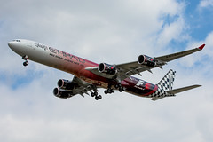 Etihad A340-600 F1 Livery (Rami Khanna-Prade) Tags: londonheathrow londresheathrow lhr egll aeroport airport rr trent500 rollsroyce f1 formula1 abudhabigrandprix fwwcf msn933 etihad ey airbus a340