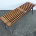 Mahogany bench with steel base