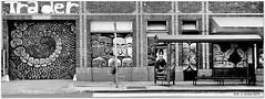 Jul 12, 2015: Trader Mural Revisited (mueflickr) Tags: urban bw building fuji scan busstop rvp100f northpark trader sep20 borderfx