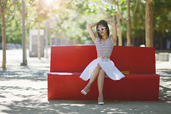 That Red Chair (DodogoeSLR) Tags: sf red white fashion asian skinny blog athletic model chair nikon dof legs bokeh skirt short heels strong nikkor chanel abs fit burberry 85mmf14 san francisco