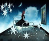 Dreams in the Night (Cat Girl 007) Tags: blue sky woman moon window girl female night clouds photomanipulation stars bed model bedroom sitting dreaming fantasy photomontage bedtime dreamy challenge memoriesbook faestock rubyswaxlyricalchallenge briarbyfaestock