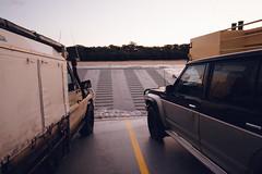 Arrival (Konrad Kasperski) Tags: ocean sea holiday car ferry island dawn vehicle arrival fraserisland barge disembark