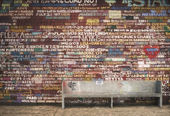 Hardy Gallery (ScottNorrisPhoto) Tags: usa streetart wall wisconsin architecture bench fun photography graffiti artgallery unique famous cityscapes explore worn greenbay aged ephraim siding quirky doorcounty eagleharbor paintedwall redpaint hardygallery topazimpression scottnorrisphotography photographybaseddigitalartwork