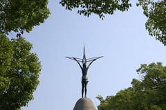 Children's Peace Monument between trees