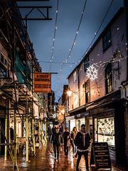 Christmas Lanes (amipal) Tags: brighton christmas city england europe gb greatbritain lights night rain sussex thelanes uk unitedkingdom urban wet voigtlander 175mm