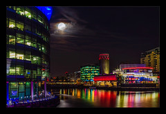 The Quays by Night (Kevin, from Manchester) Tags: manchester manchestershipcanal night northwest salfordquays architecture hdr canon1855mm water canal moon
