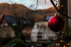 Bobble-0010 (Sharp 4 Blurry Back) Tags: christmas decoration outdoors hanging bauble red garden