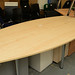 Maple barrel shape meeting table with chrome legs