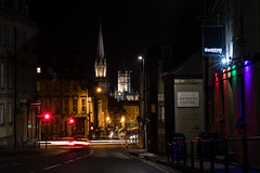 Mandalyns Bar and spires of Bath at night (Ian Redding) Tags: bath bathabbey christmas georgian mandalyns somerset uk unescoworldheritage architecture bar church city colorful decorations entertainment festive impressive lights longexposure night nightlife
