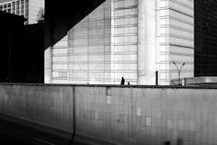 Behind his father (pascalcolin1) Tags: paris12 bercy père father fils son architecture lumière light photoderue streetview urbanarte noiretblanc blackandwhite photopascalcolin